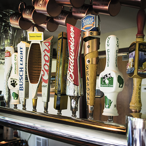 Tap handles in our Tap Room.